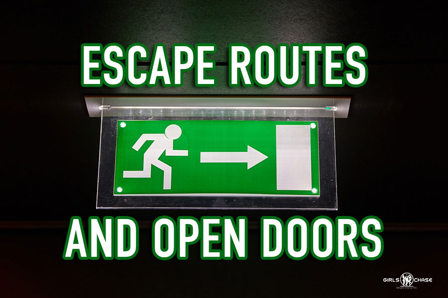 escape routes and open doors